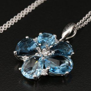 EFFY 5.65 CT Diamond & Blue Topaz Flower Necklace